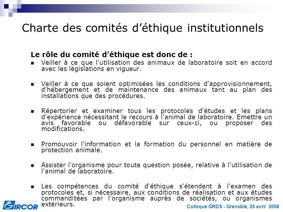 Charte des comités d'éthique institutionnels