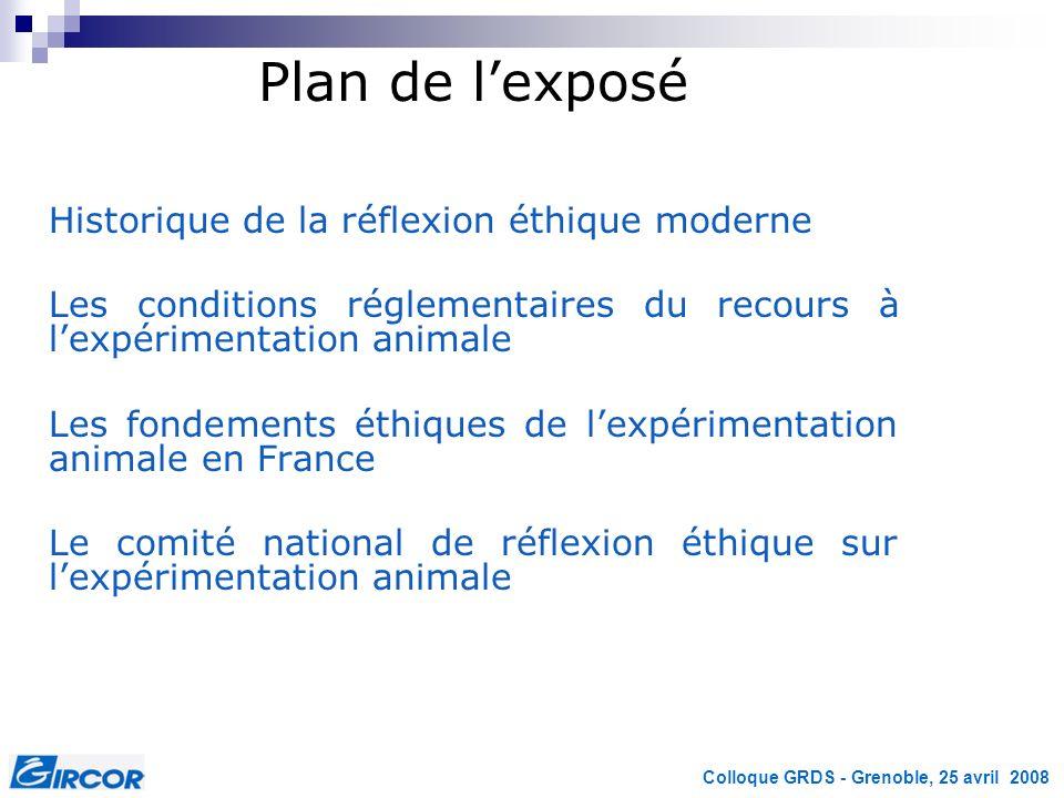 Plan de l'exposé Historique de la réflexion éthique moderne