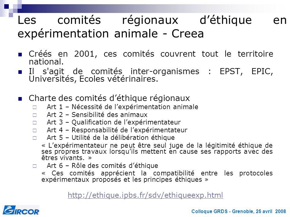Les comités régionaux d'éthique en expérimentation animale - Creea