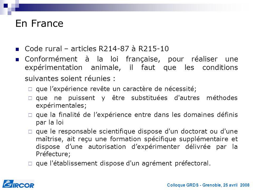 En France Code rural – articles R214-87 à R215-10