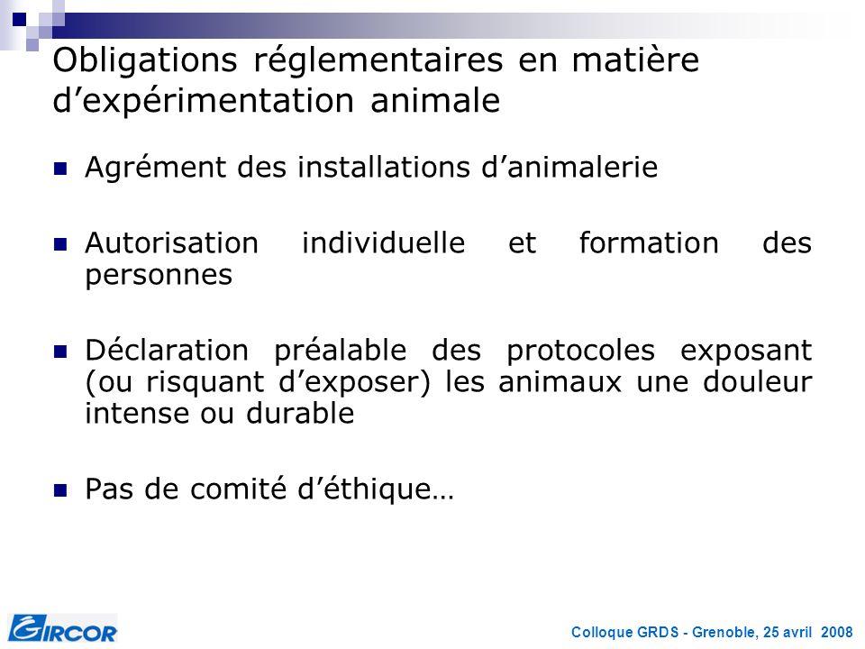 Obligations réglementaires en matière d'expérimentation animale
