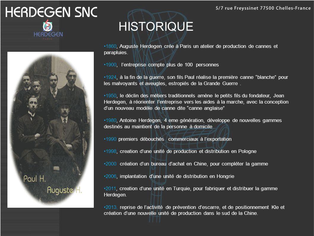 HISTORIQUE 1860, Auguste Herdegen crée à Paris un atelier de production de cannes et parapluies. 1900, l'entreprise compte plus de 100 personnes.