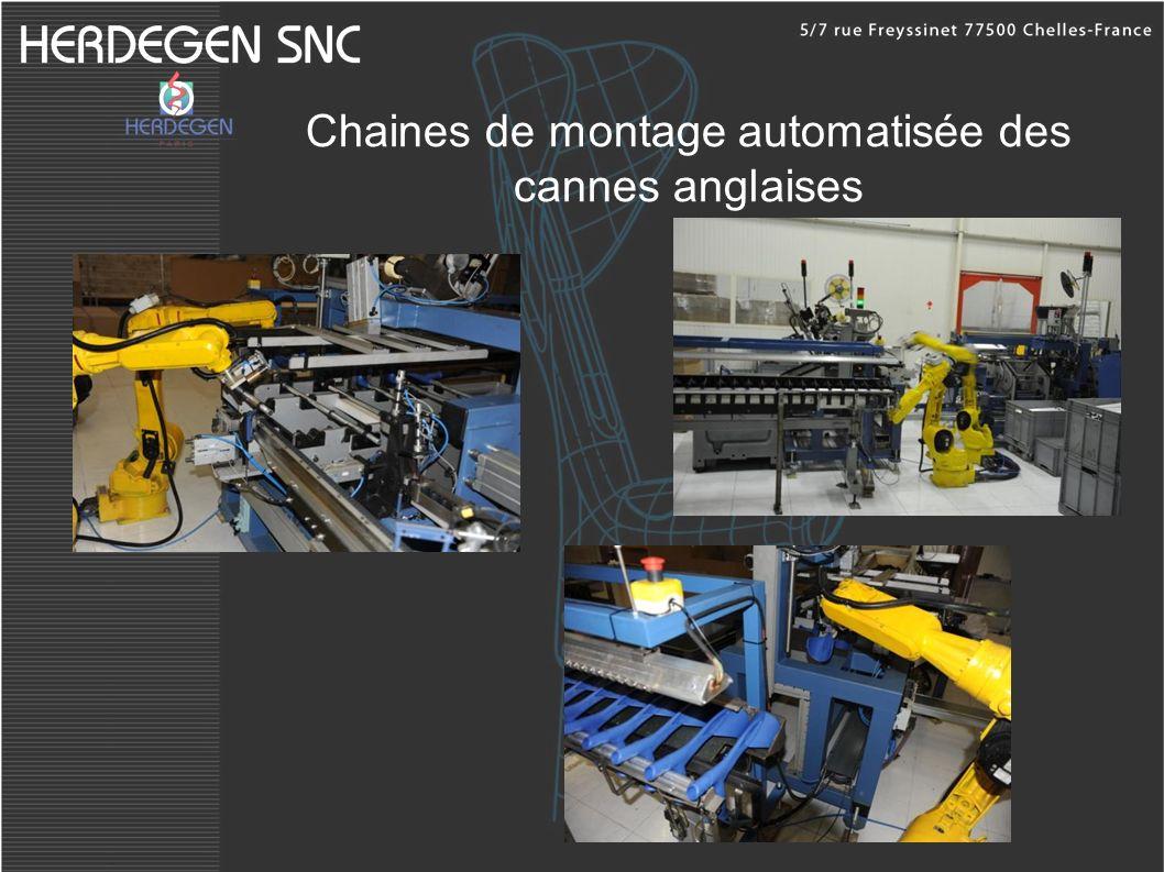 Chaines de montage automatisée des cannes anglaises