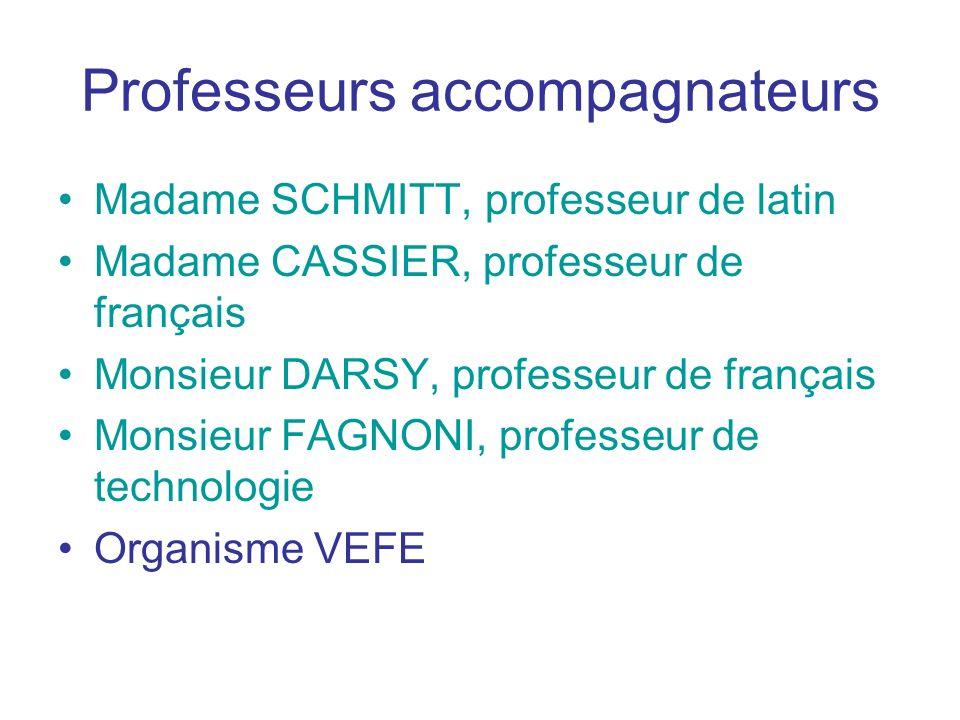 Professeurs accompagnateurs