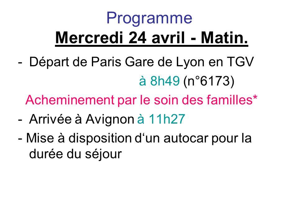 Programme Mercredi 24 avril - Matin.