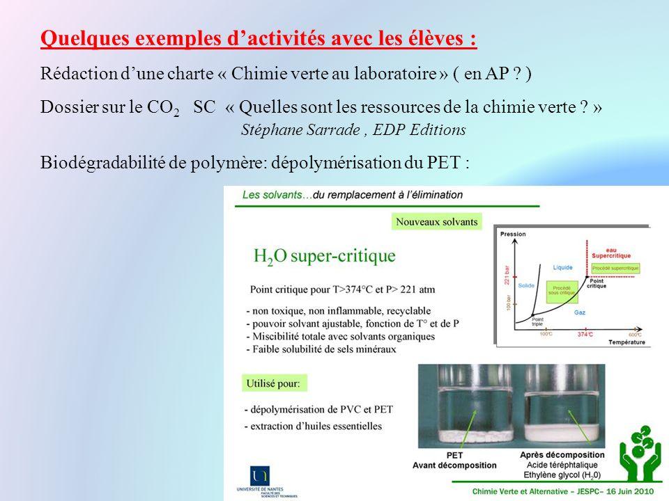 Quelques exemples d'activités avec les élèves : Rédaction d'une charte « Chimie verte au laboratoire » ( en AP .
