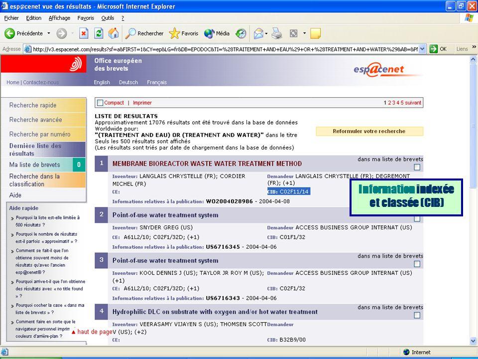 Information indexée et classée (CIB)