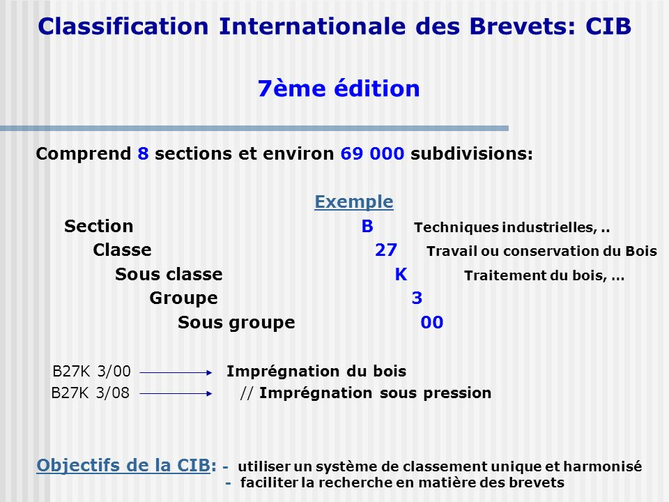 Classification Internationale des Brevets: CIB 7ème édition
