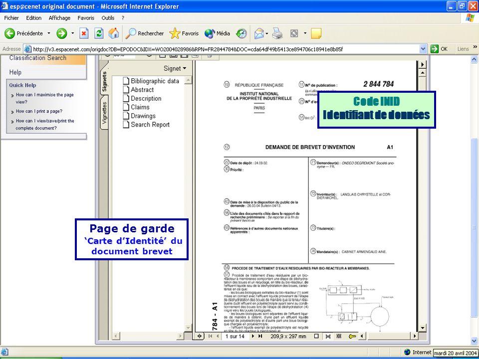 Identifiant de données 'Carte d'Identité' du document brevet