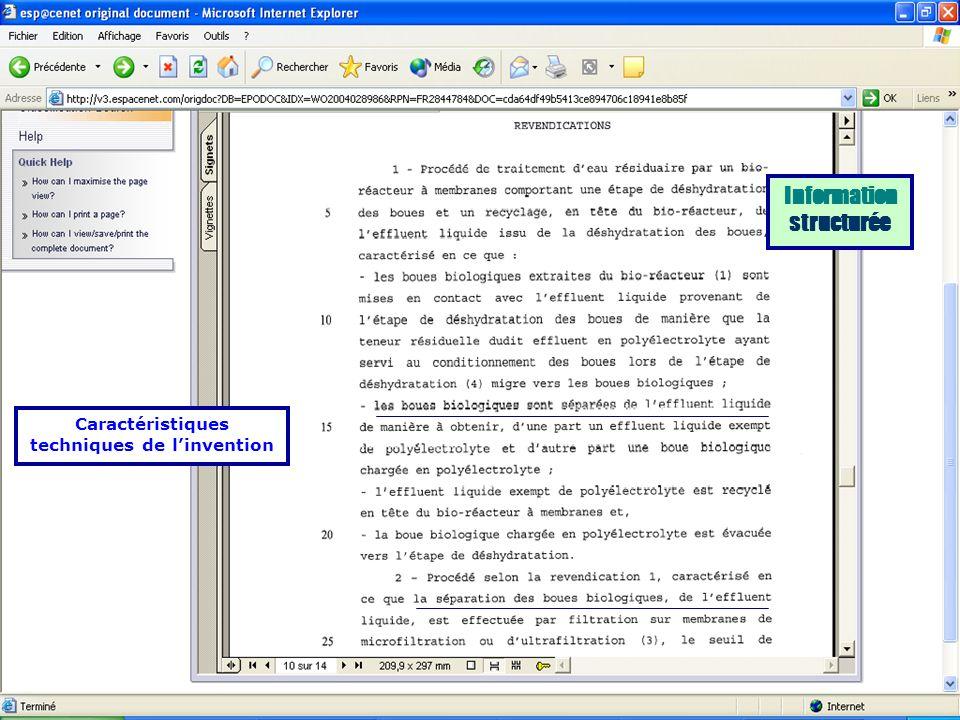 Information structurée Caractéristiques techniques de l'invention
