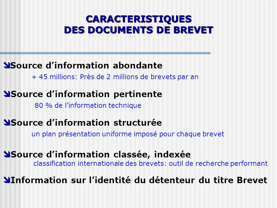 DES DOCUMENTS DE BREVET
