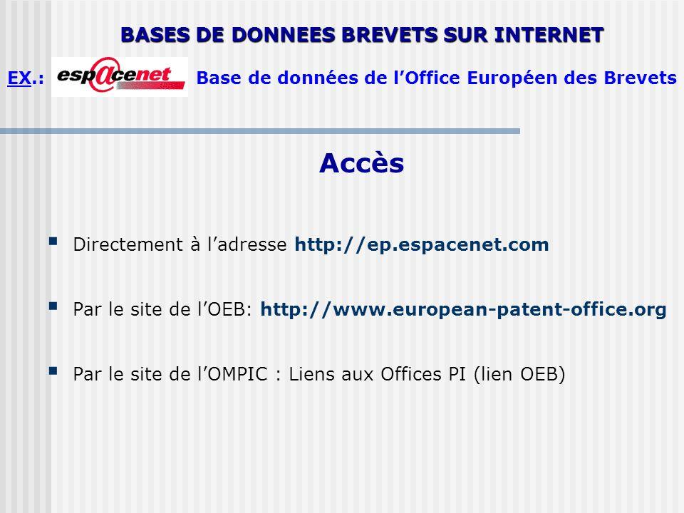 BASES DE DONNEES BREVETS SUR INTERNET EX