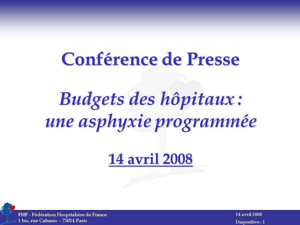 Conférence de Presse Budgets des hôpitaux : une asphyxie programmée 14 avril 2008