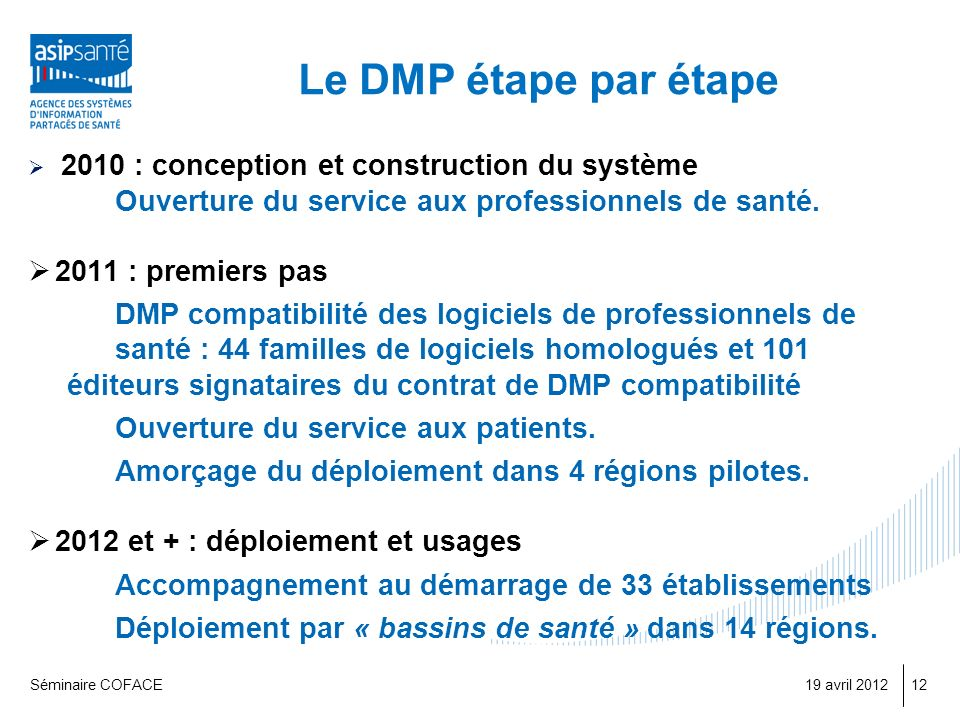 Le DMP étape par étape 2010 : conception et construction du système. Ouverture du service aux professionnels de santé.