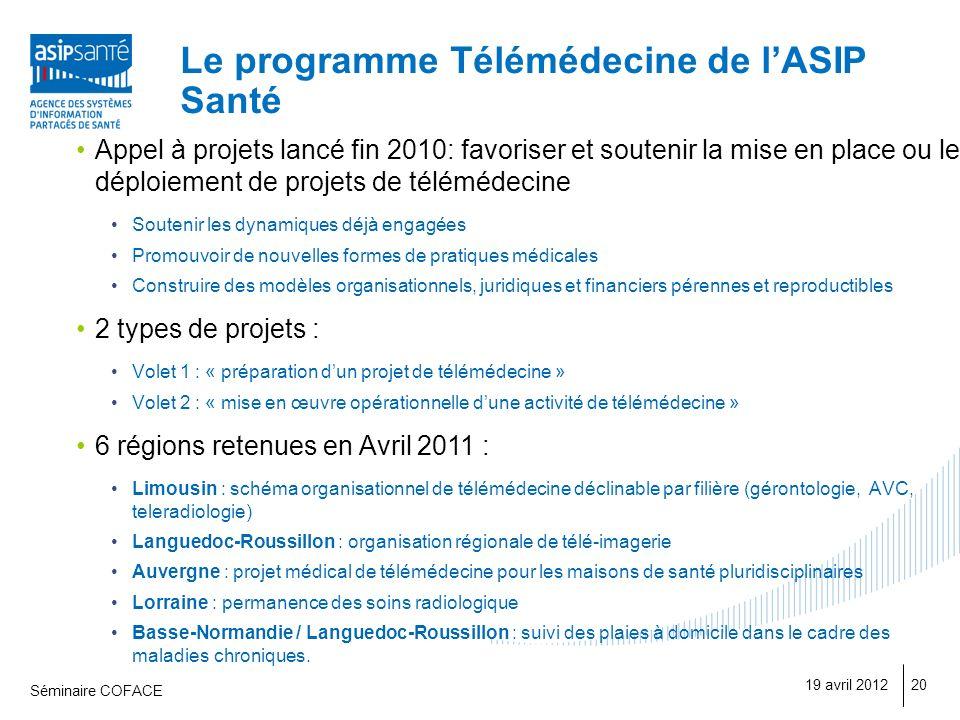 Le programme Télémédecine de l'ASIP Santé