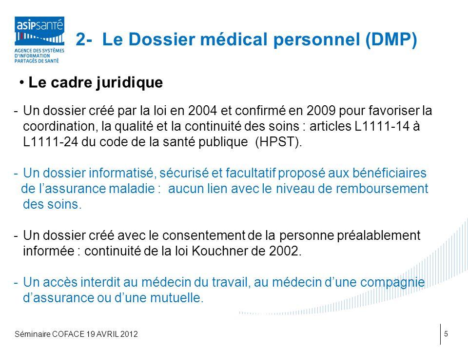 2- Le Dossier médical personnel (DMP)