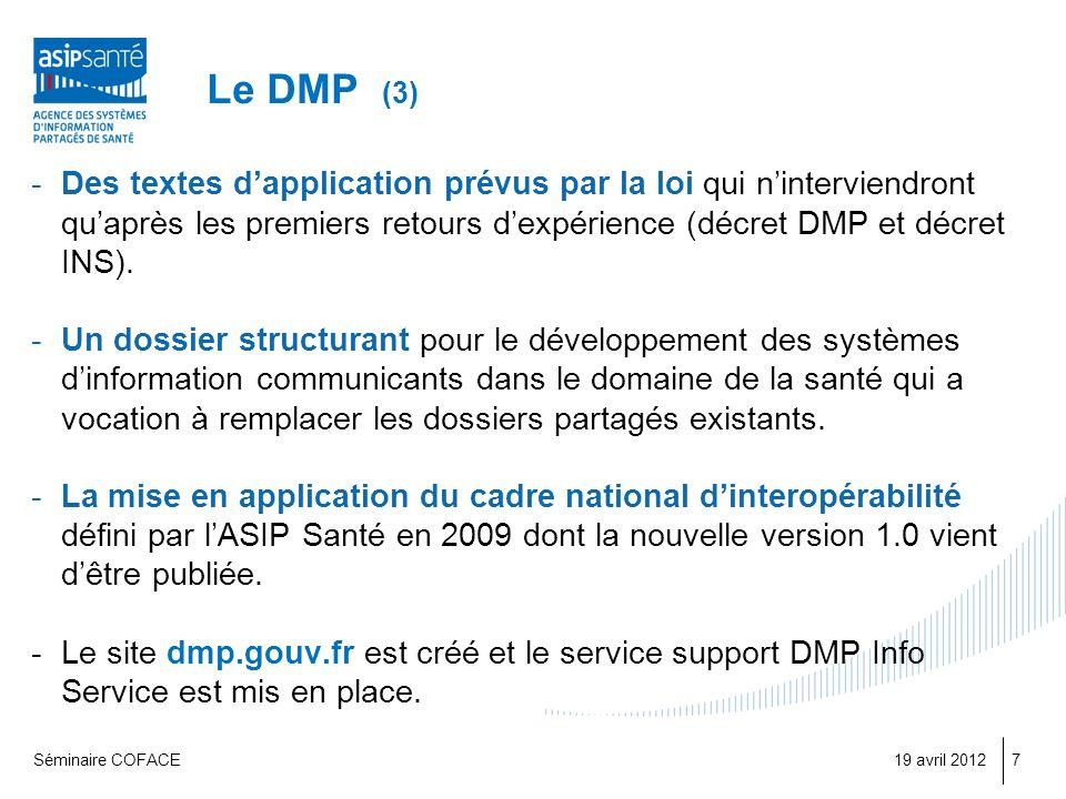 Le DMP (3) Des textes d'application prévus par la loi qui n'interviendront qu'après les premiers retours d'expérience (décret DMP et décret INS).