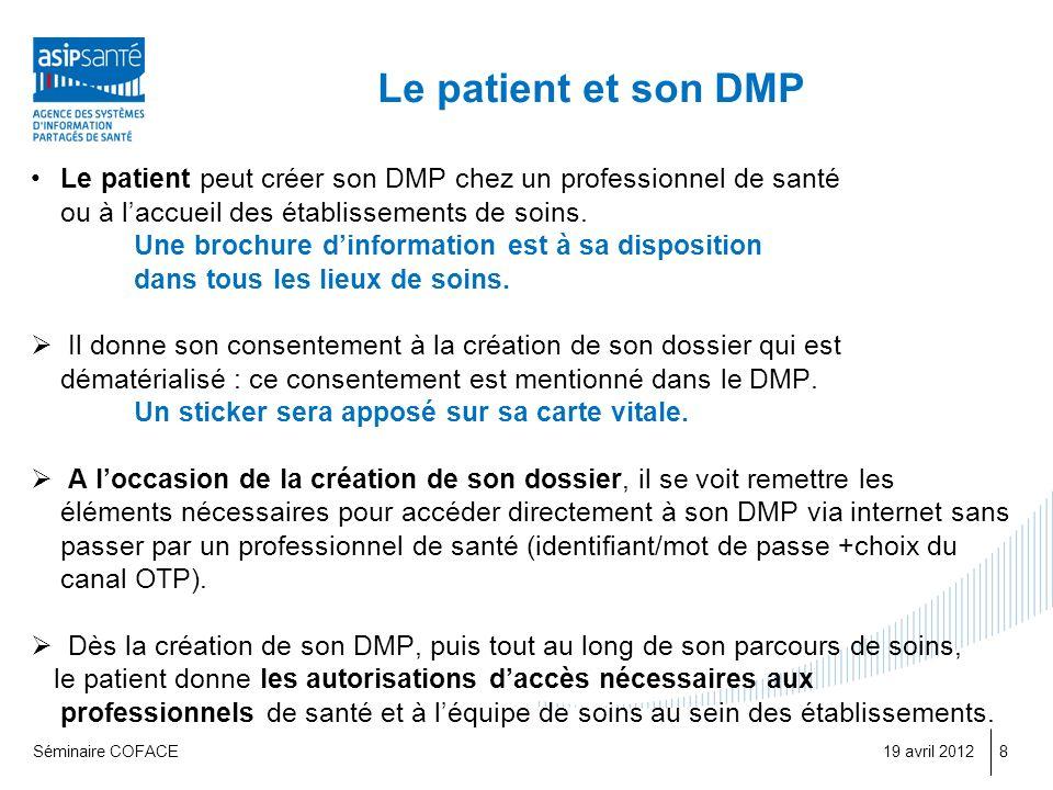 Le patient et son DMP Le patient peut créer son DMP chez un professionnel de santé. ou à l'accueil des établissements de soins.