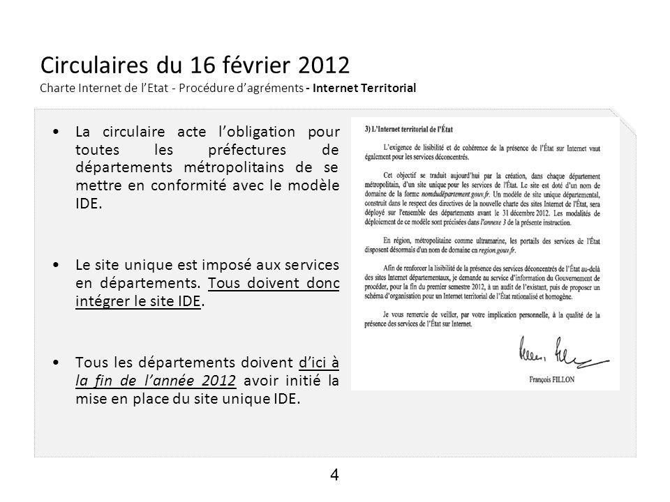 25/05/12 Circulaires du 16 février 2012 Charte Internet de l'Etat - Procédure d'agréments - Internet Territorial.