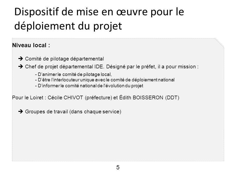Dispositif de mise en œuvre pour le déploiement du projet