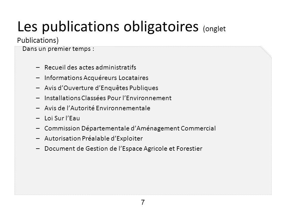 Les publications obligatoires (onglet Publications)