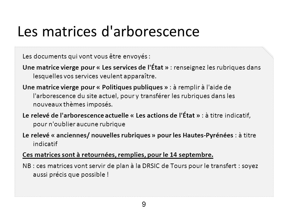 Les matrices d arborescence