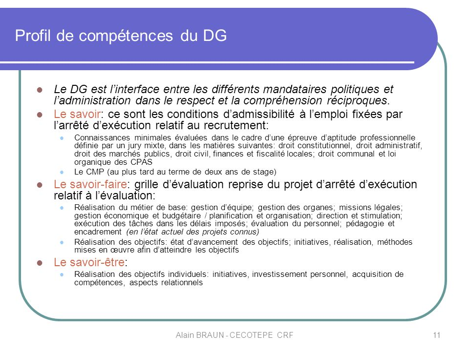 Profil de compétences du DG