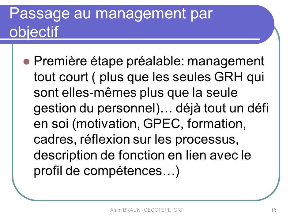 Passage au management par objectif