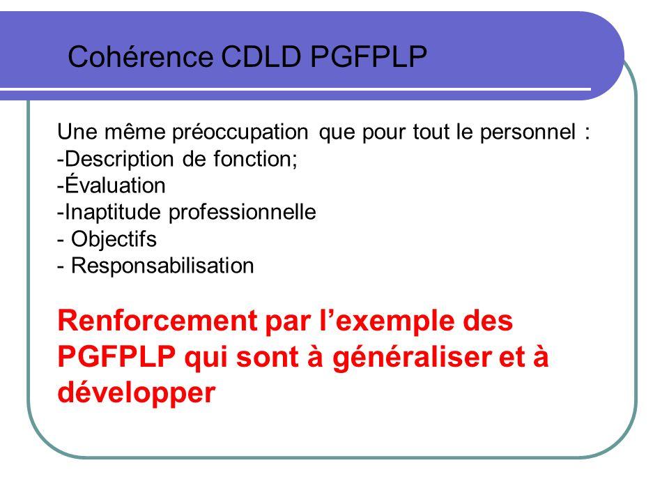 Cohérence CDLD PGFPLP Une même préoccupation que pour tout le personnel : Description de fonction;