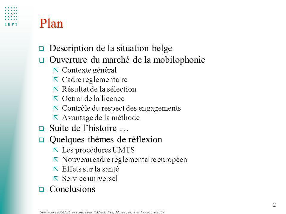 Plan Description de la situation belge