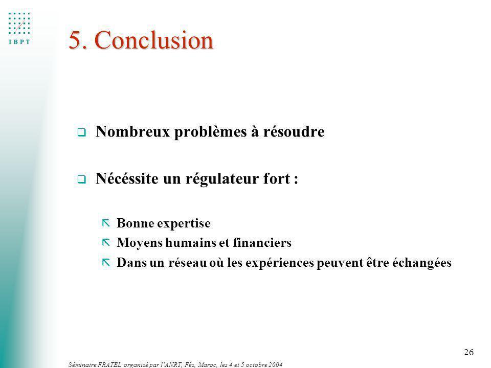 5. Conclusion Nombreux problèmes à résoudre