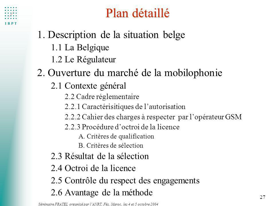 Plan détaillé 1. Description de la situation belge