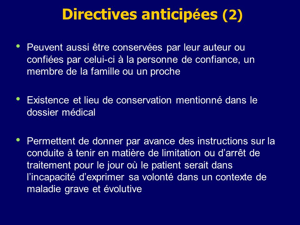 Directives anticipées (2)