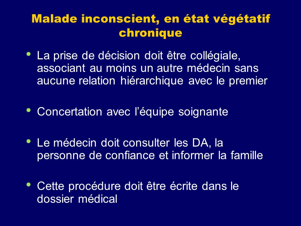 Malade inconscient, en état végétatif chronique