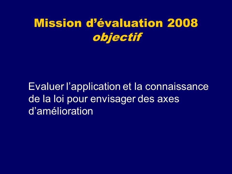 Mission d'évaluation 2008 objectif