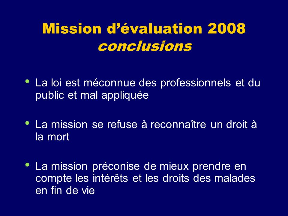 Mission d'évaluation 2008 conclusions