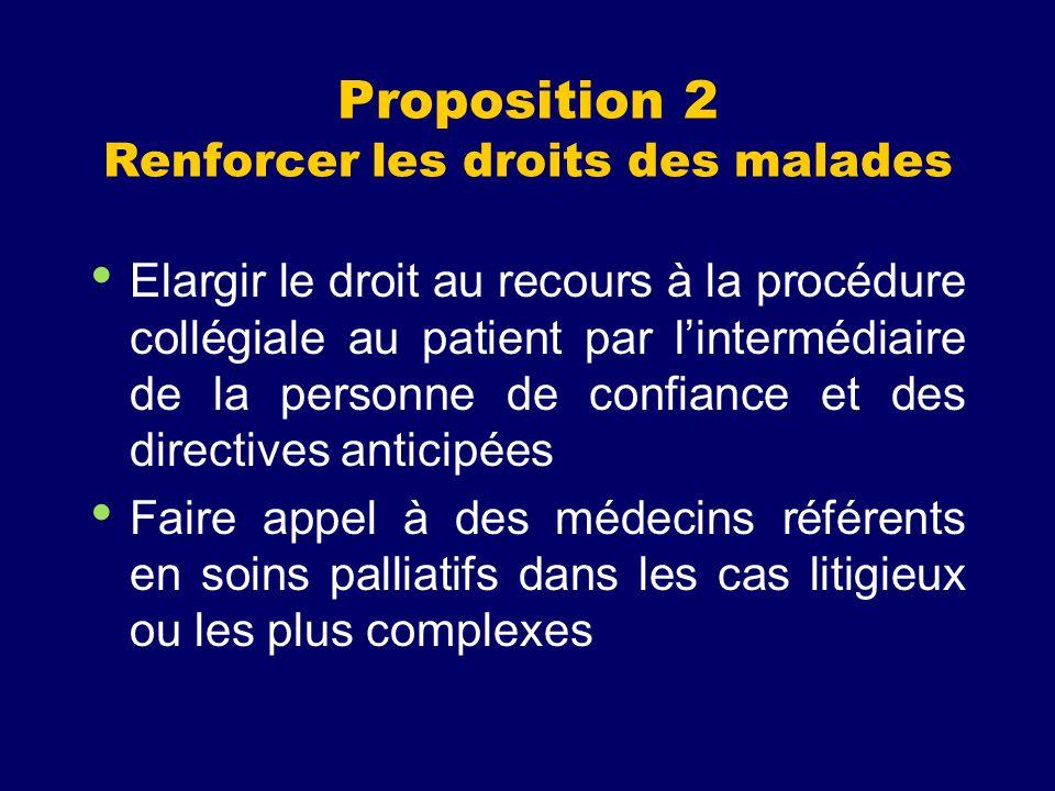 Proposition 2 Renforcer les droits des malades