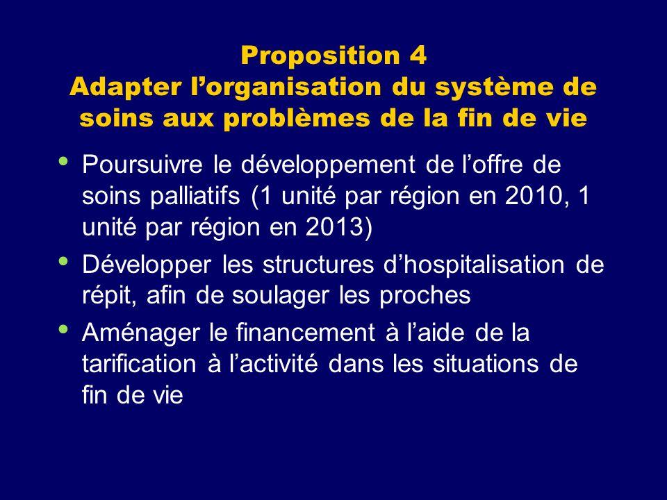 Proposition 4 Adapter l'organisation du système de soins aux problèmes de la fin de vie