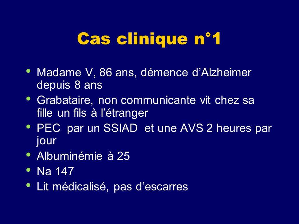 Cas clinique n°1 Madame V, 86 ans, démence d'Alzheimer depuis 8 ans