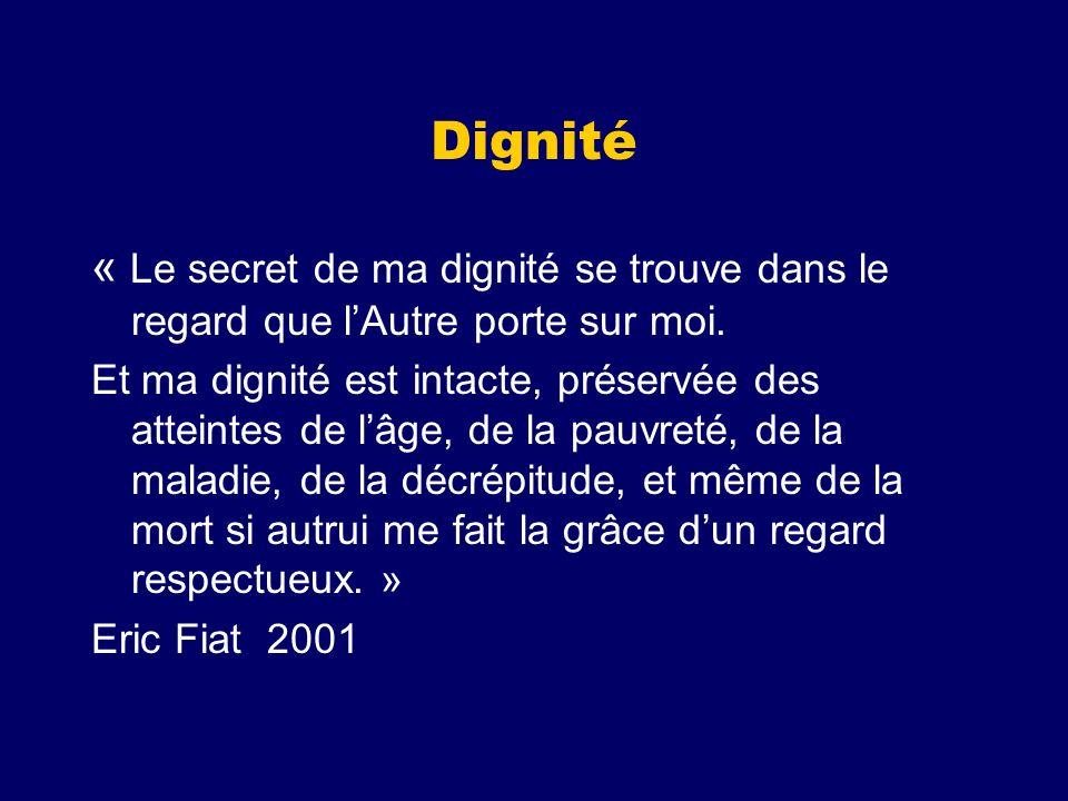 Dignité « Le secret de ma dignité se trouve dans le regard que l'Autre porte sur moi.