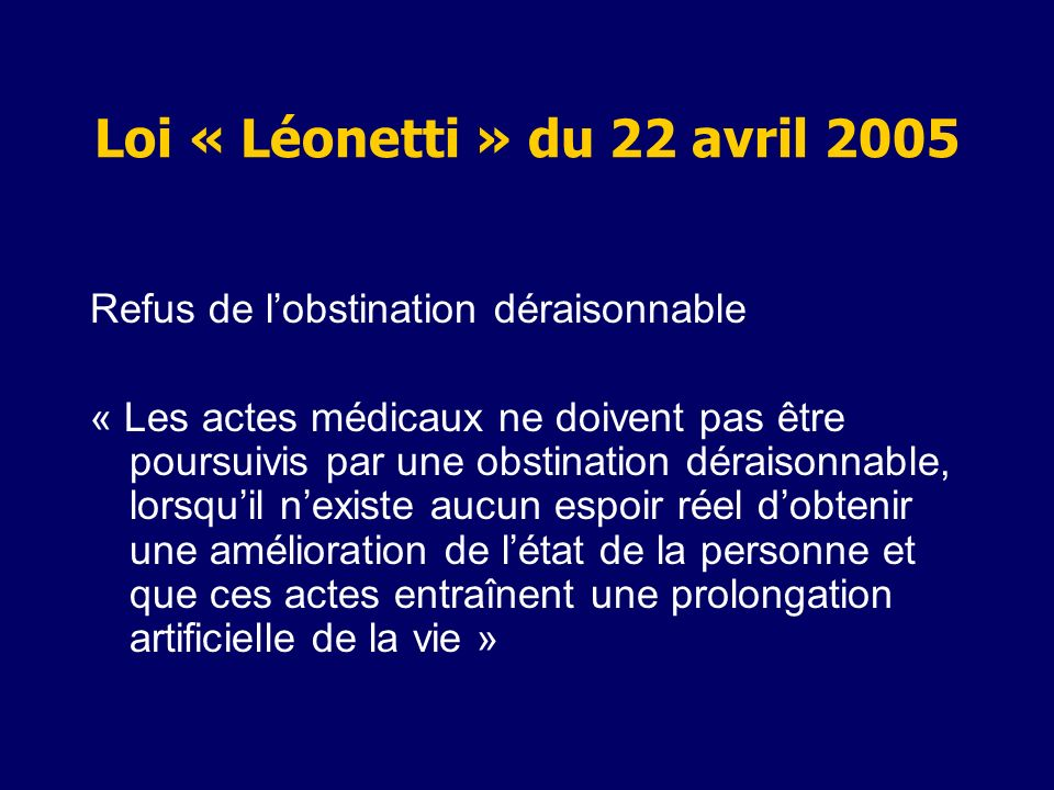 Loi « Léonetti » du 22 avril 2005