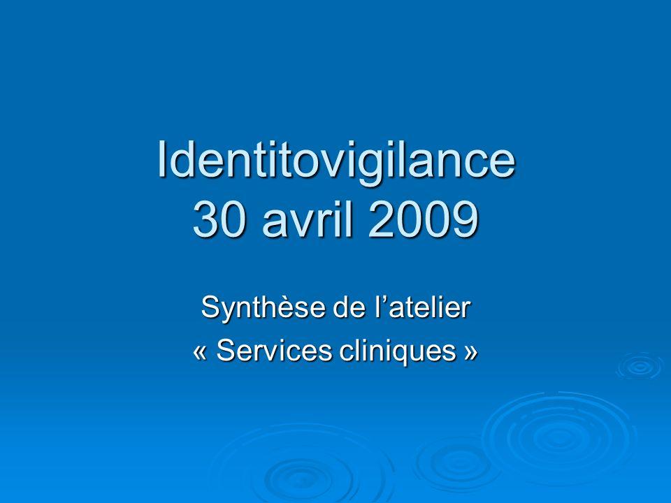 Identitovigilance 30 avril 2009