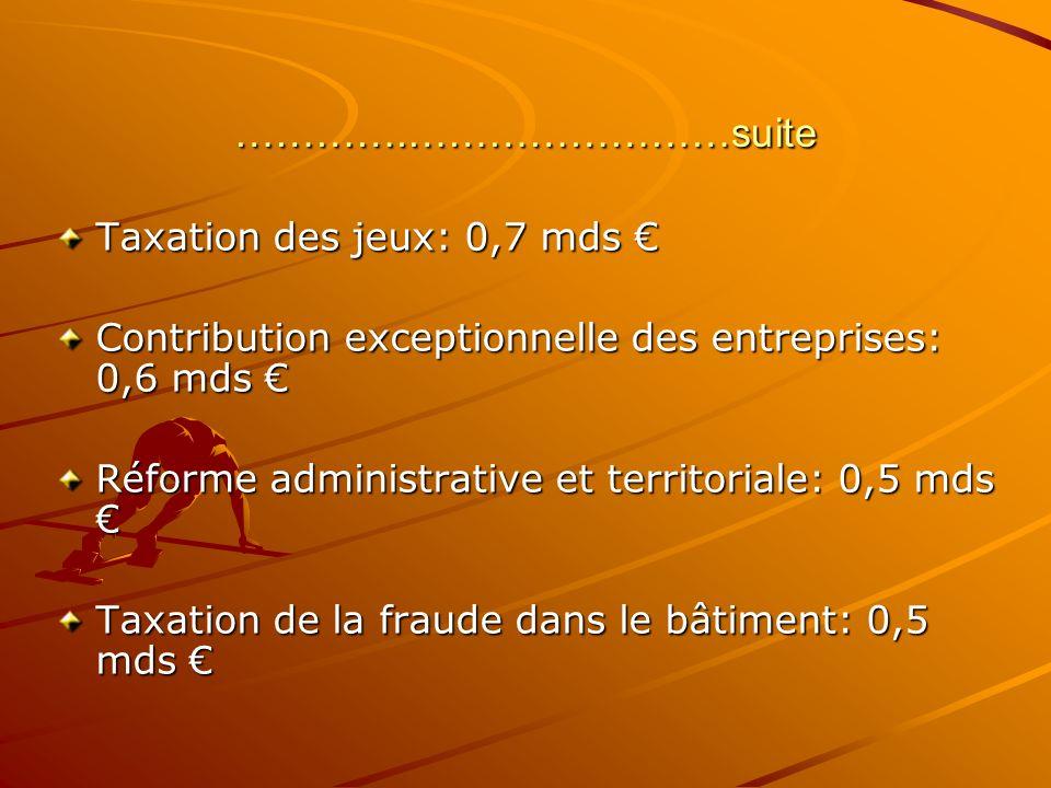 ………….……………………suite Taxation des jeux: 0,7 mds €