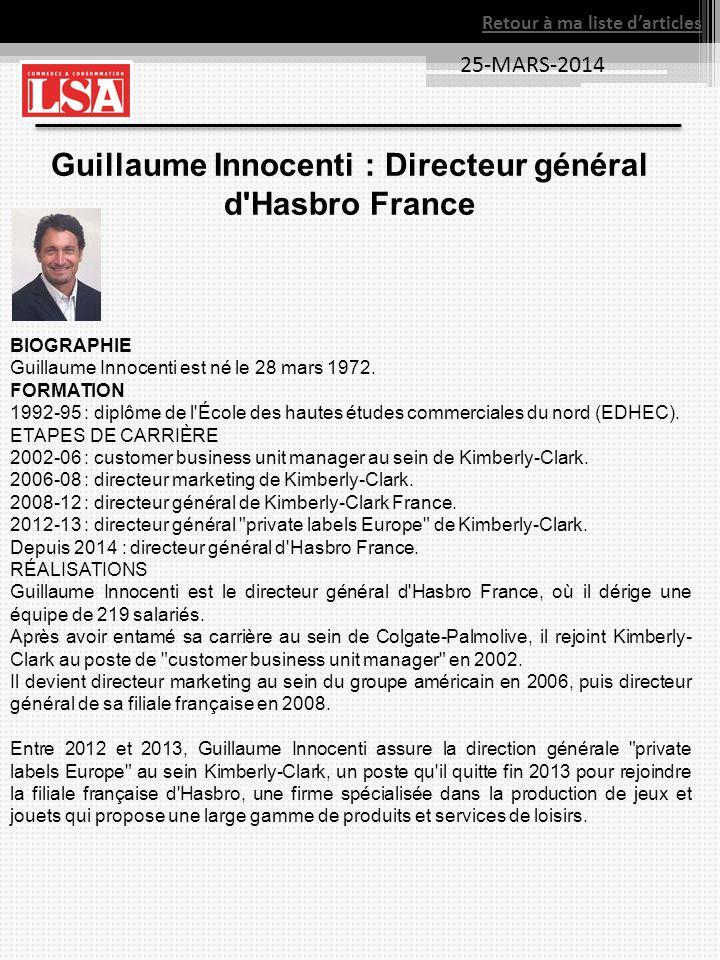 Guillaume Innocenti : Directeur général d Hasbro France