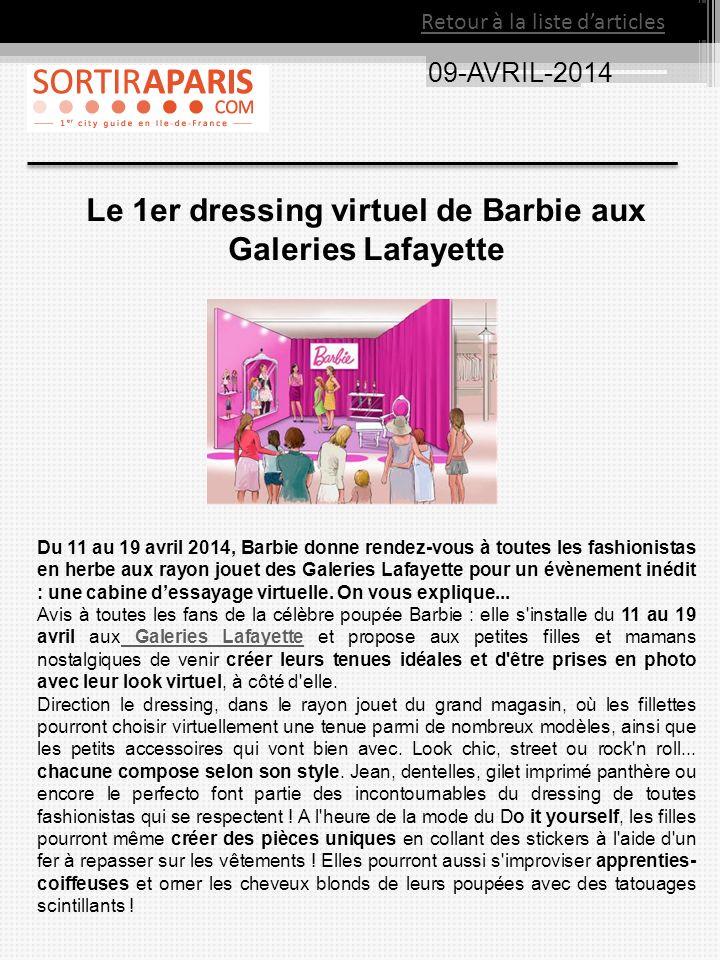 Le 1er dressing virtuel de Barbie aux Galeries Lafayette