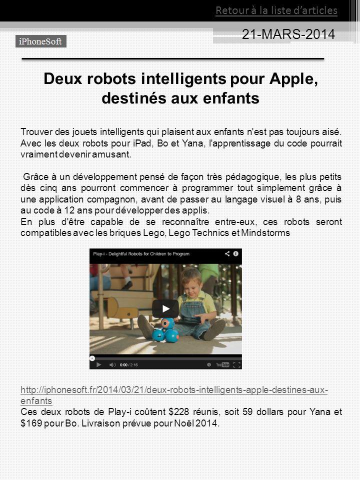 Deux robots intelligents pour Apple, destinés aux enfants