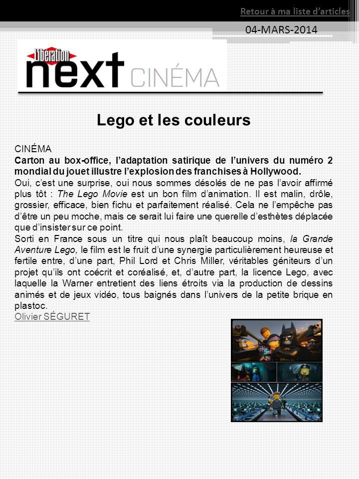 Lego et les couleurs 04-MARS-2014 Retour à ma liste d'articles CINÉMA