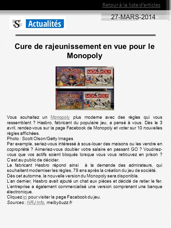 Cure de rajeunissement en vue pour le Monopoly