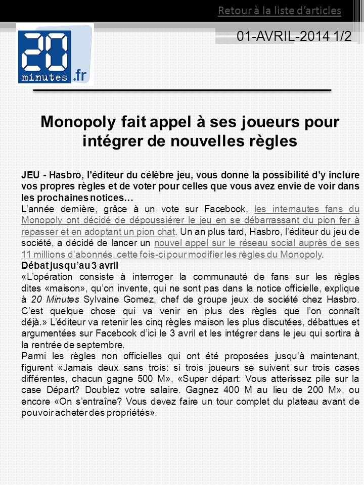 Monopoly fait appel à ses joueurs pour intégrer de nouvelles règles
