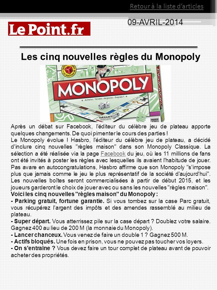 Les cinq nouvelles règles du Monopoly